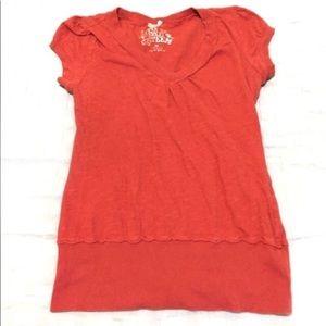 Rust color red Self Esteem short sleeve top